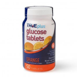 TRUEplus Glucose Chewable Tabs, Orange, 50 count