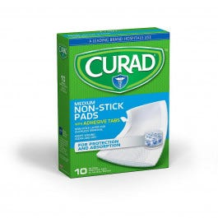 "Curad Non Stick Pad with Adhesive 3""x4"", 10/box"