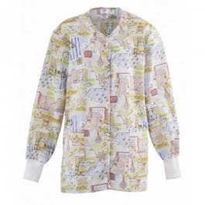 Bunnies & Bears Print Ladies Warm-Up Jacket, Small
