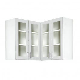 "Corner Wall Cabinet with Four Clear Acrylic Doors 30""H x 36""W (each side) x 12.25""D"