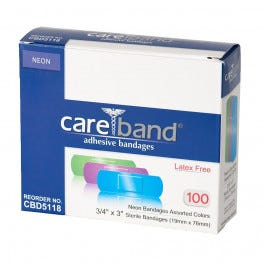 Antibacterial Assorted Neon Color Bandages, 100/bx