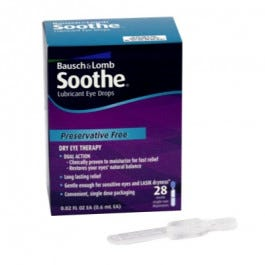 Bausch & Lomb Soothe Lubricant Eye Drops (Preservative Free), Single-Use .02 oz, 28/Box