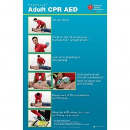 Heartsaver Adult CPR AED Poster 2015, 3/pack