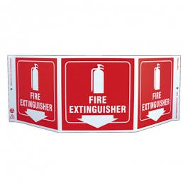 Zing Fire Extinguisher 3-Sided TriView Safety Eco-Signs