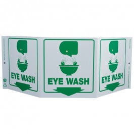 Zing Eye Wash 3-Sided TriView Safety Eco-Signs