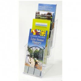 Clear 4-compartment Leaflet Literature Display