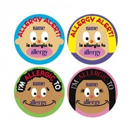 Allergy Stickers Customizable, 200/Roll