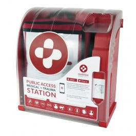 Mobilize Rescue System Public Access Rescue System Station, 4/pack with Alarmed Cabinet