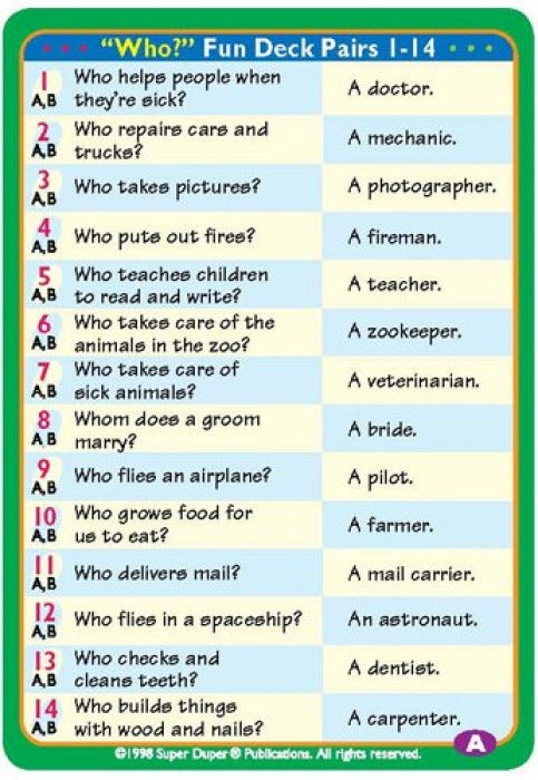 Ask & Answer WH Cards - Questioning Skills - Super Duper ...