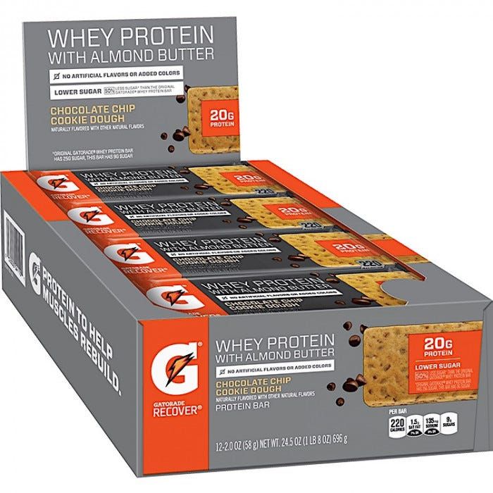 Gatorade Protein Bars With Almond Butter 12cs Energy Bars