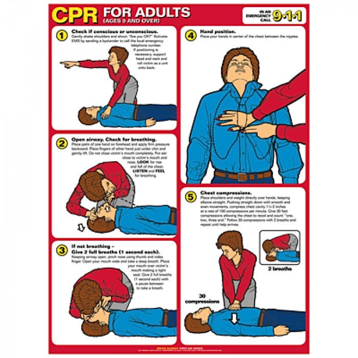 Cpr Chart, Laminated Poster With Eyelets, Adult-2919