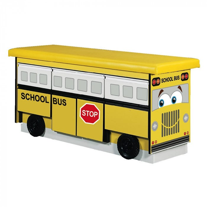 School bus treatment table with 5 drawers and cabinet storage - School bus table and chair ...