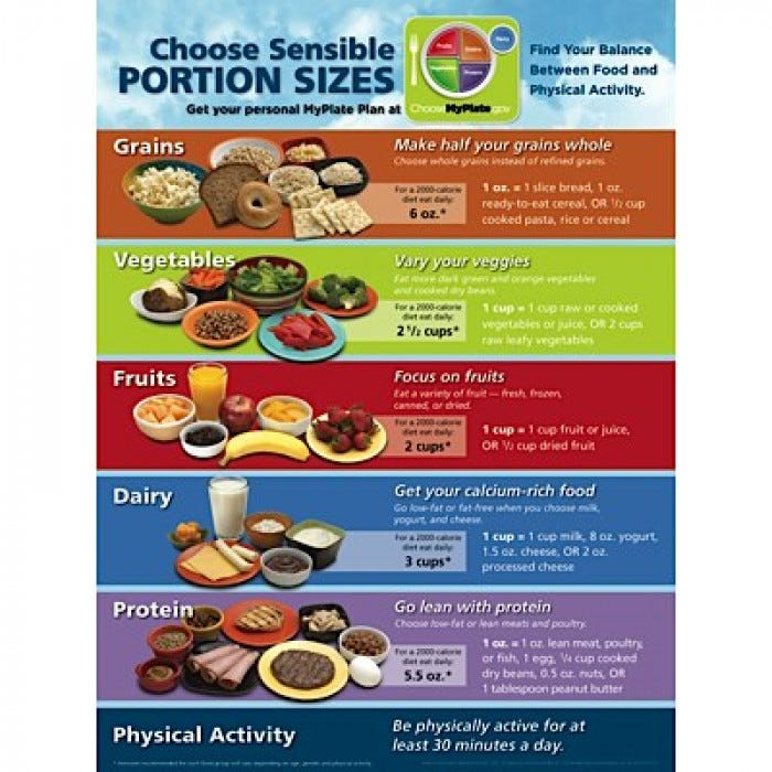 Myplate Portion Size Poster Nutrition Educational