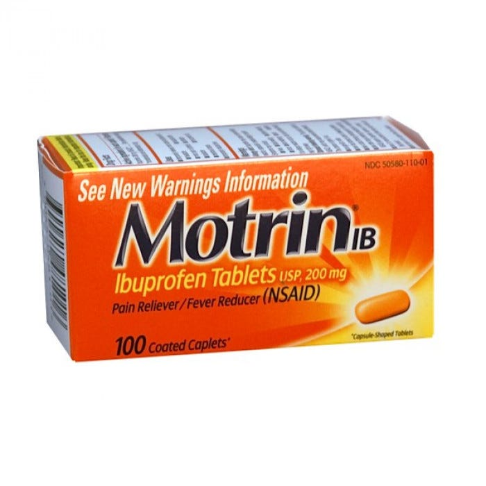 Motrin Ib Caplets 200 Mgs 165 S