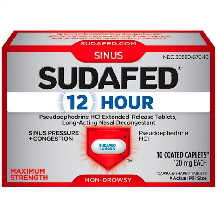 Sudafed 12 Hour Caplets Non Drowsy 120 Mg 10 Box