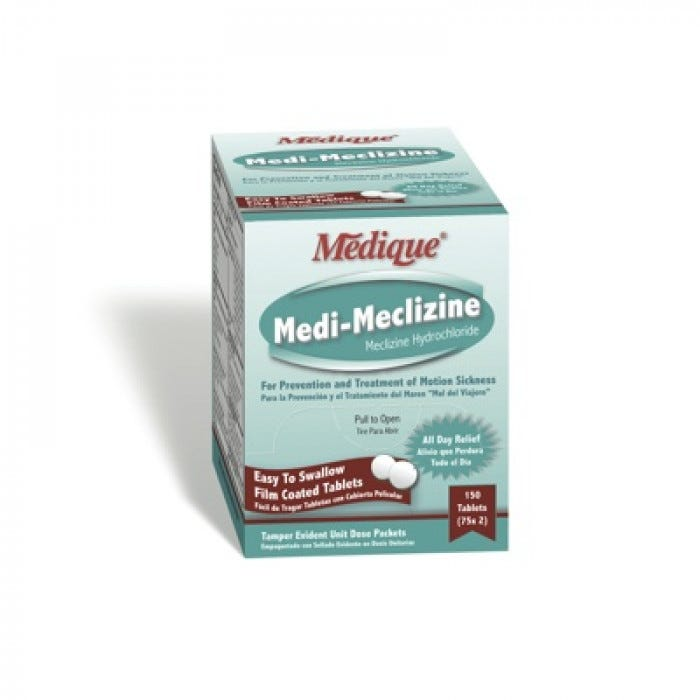 Medique Medi-Meclizine - 50 mg  (25 mg  each tablet) - 50/2's (Compare  active ingredients to Dramamine Less Drowsy Formula)