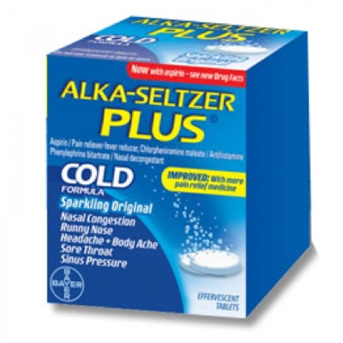 Alka Seltzer Plus Cold Tablets 24 2 S